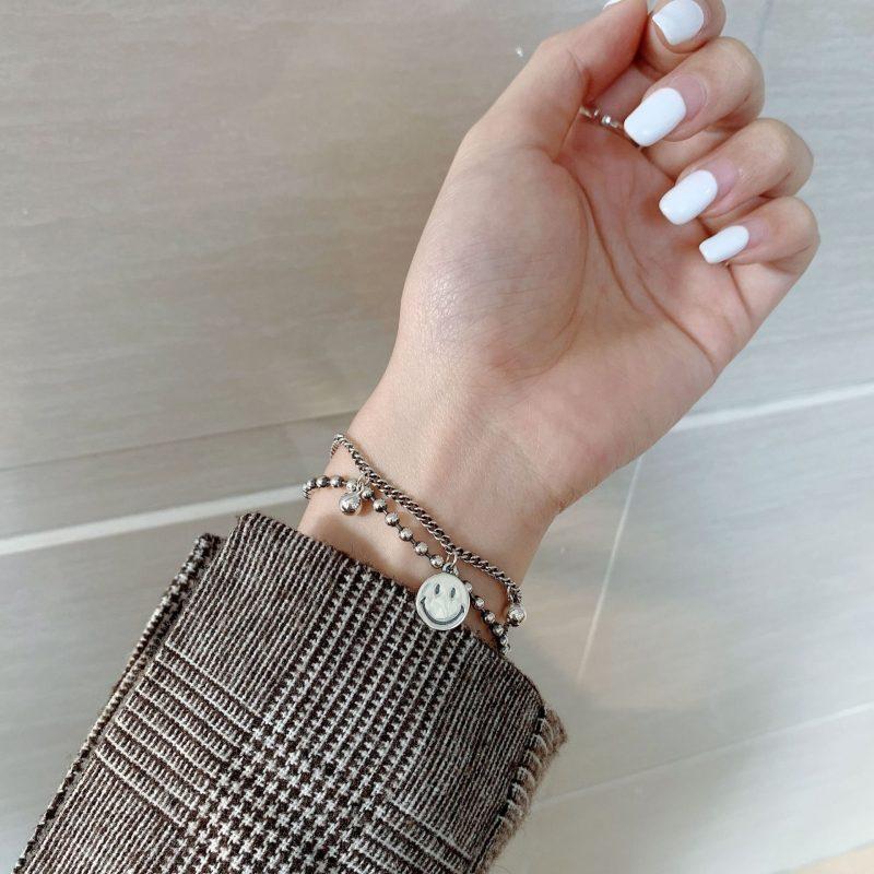 Lắc tay Vòng tay bạc dạng chuỗi hình mặt cư�i LILI_142373-02