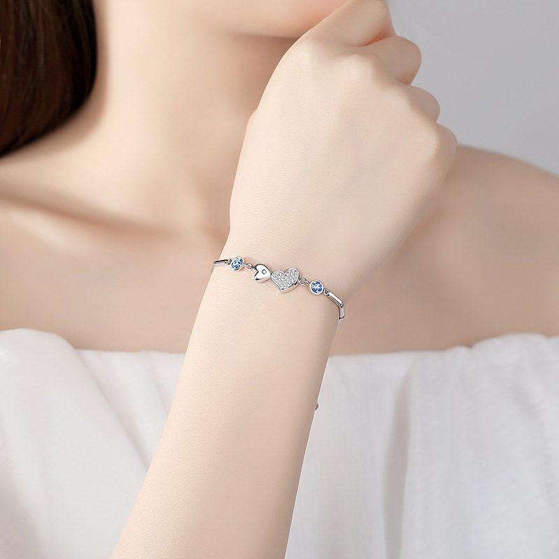 Lắc tay Vòng tay bạc đính pha lê Swarovski hình trái tim LILI_364945-01