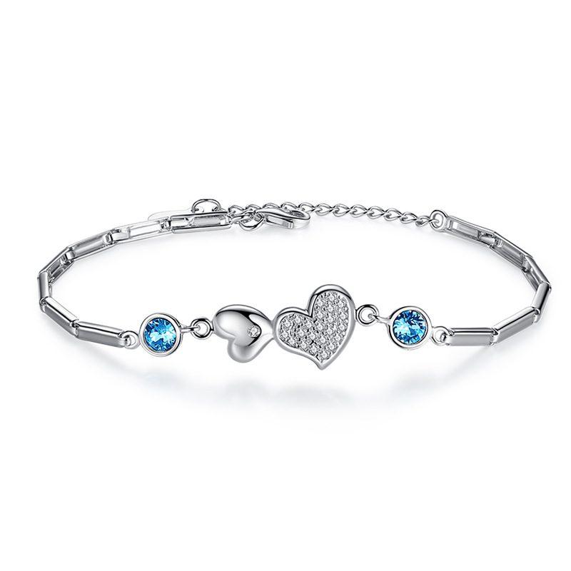 Lắc tay Vòng tay bạc đính pha lê Swarovski hình trái tim LILI_364945-03