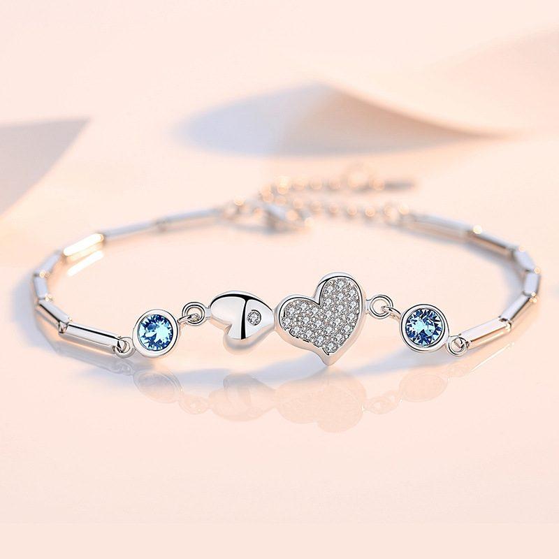 Lắc tay Vòng tay bạc đính pha lê Swarovski hình trái tim LILI_364945-04