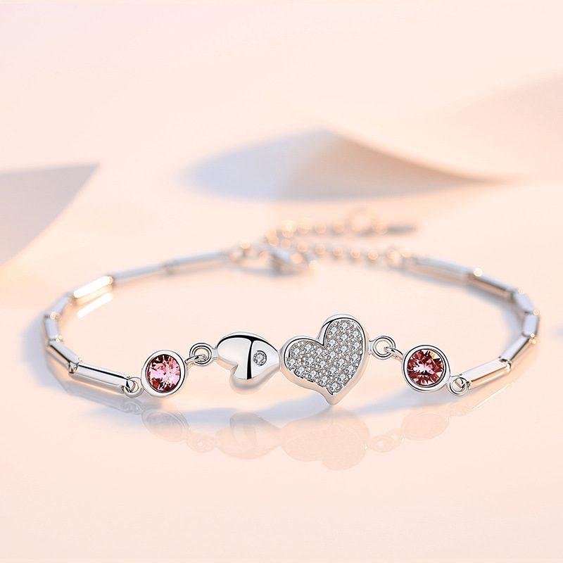 Lắc tay Vòng tay bạc đính pha lê Swarovski hình trái tim LILI_364945-06