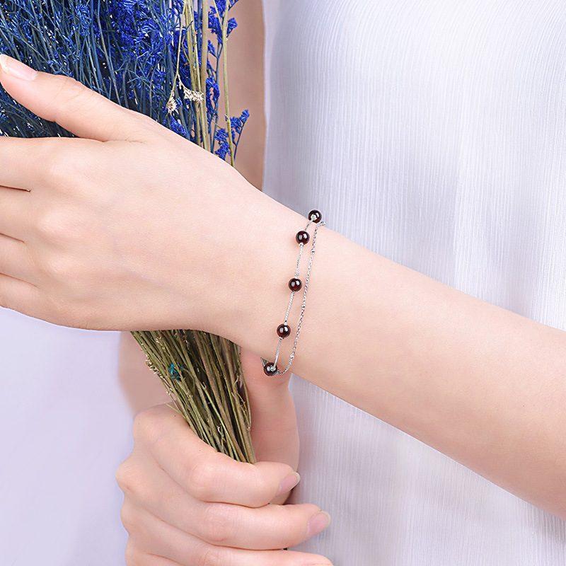 Lắc tay Vòng tay bạc đính pha lê ngọc hồng lựu LILI_844426-01