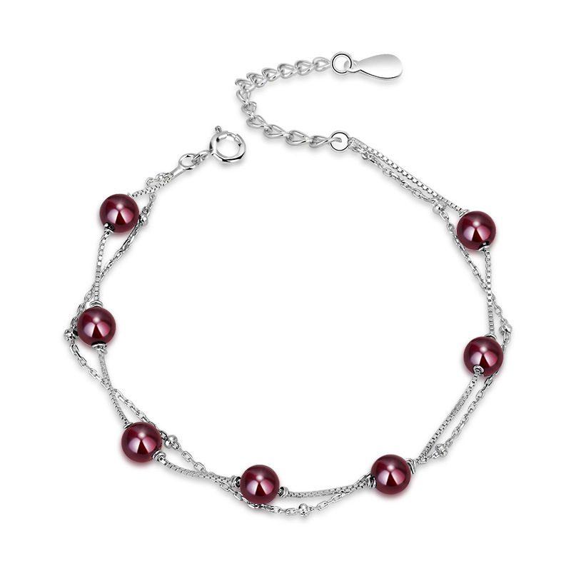 Lắc tay Vòng tay bạc đính pha lê ngọc hồng lựu LILI_844426-03
