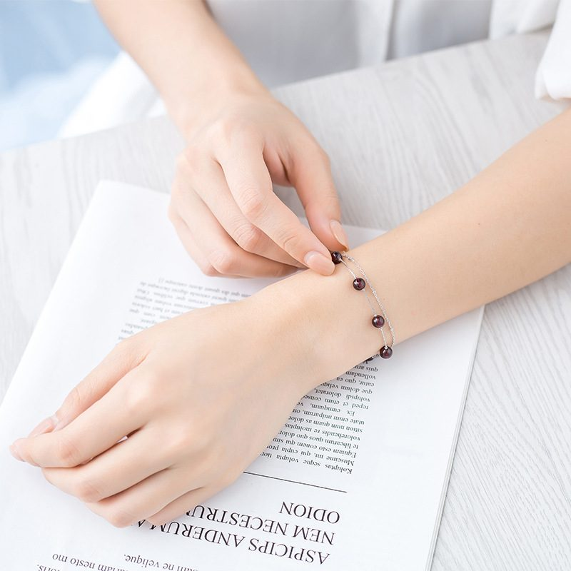 Lắc tay Vòng tay bạc đính pha lê ngọc hồng lựu LILI_844426-04