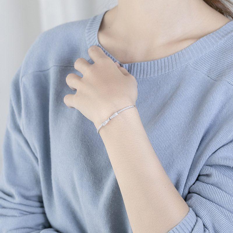 Lắc tay Vòng tay bạc hình chiếc nơ đính đá Zircon LILI_579351-05