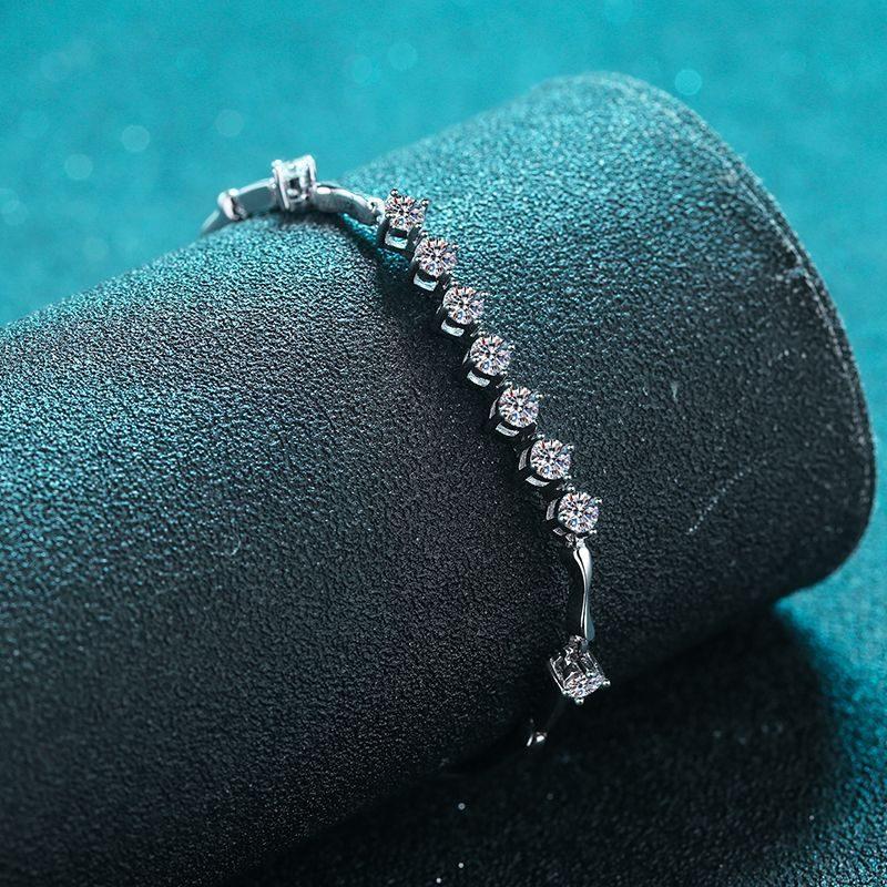 Lắc tay Vòng tay bạc mạ bạch kim đính kim cương Moissanite LILI_796784-03