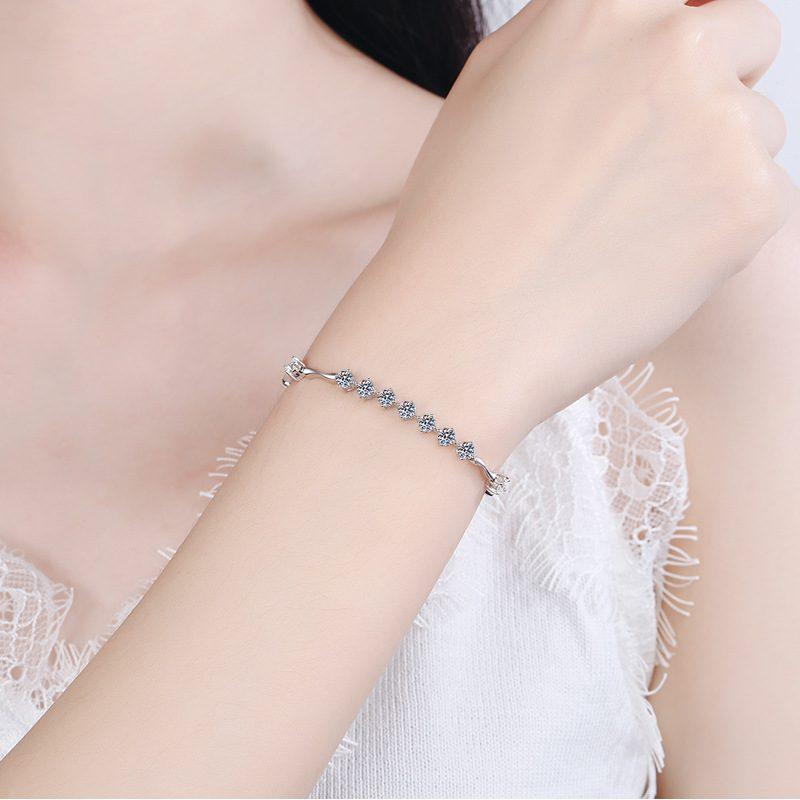 Lắc tay Vòng tay bạc mạ bạch kim đính kim cương Moissanite LILI_796784-04