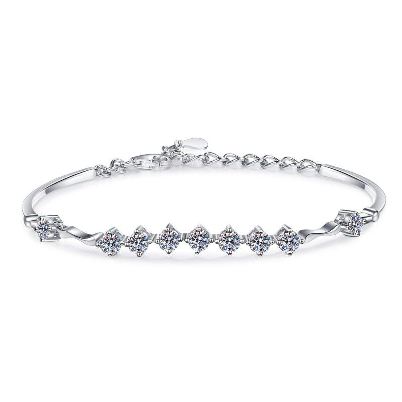 Lắc tay Vòng tay bạc mạ bạch kim đính kim cương Moissanite LILI_796784-05