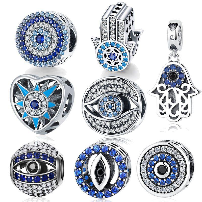 Bộ sưu tập hạt charm bạc mạ bạch kim xỏ DIY dát đá Zircon LILI_461574-01