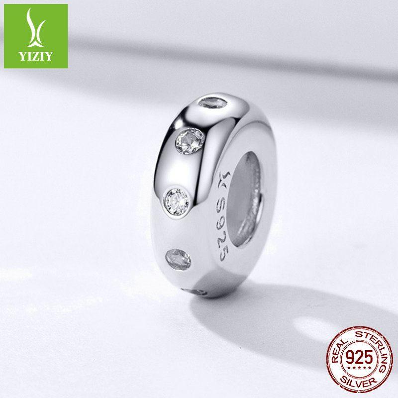 Bộ sưu tập hạt charm bạc mạ bạch kim xỏ DIY dát đá Zircon LILI_526941-01
