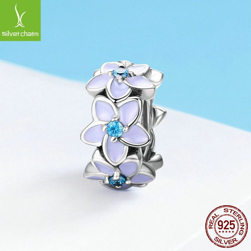 Bộ sưu tập hạt charm bạc mạ bạch kim xỏ DIY dát đá Zircon LILI_526941-04