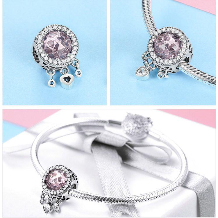 Bộ sưu tập hạt charm bạc mạ bạch kim xỏ DIY dát đá Zircon hình trái tim LILI_636925-01