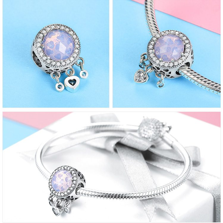 Bộ sưu tập hạt charm bạc mạ bạch kim xỏ DIY dát đá Zircon hình trái tim LILI_636925-04