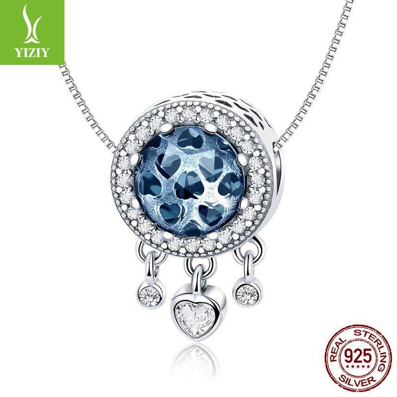 Bộ sưu tập hạt charm bạc mạ bạch kim xỏ DIY dát đá Zircon hình trái tim LILI_636925-05