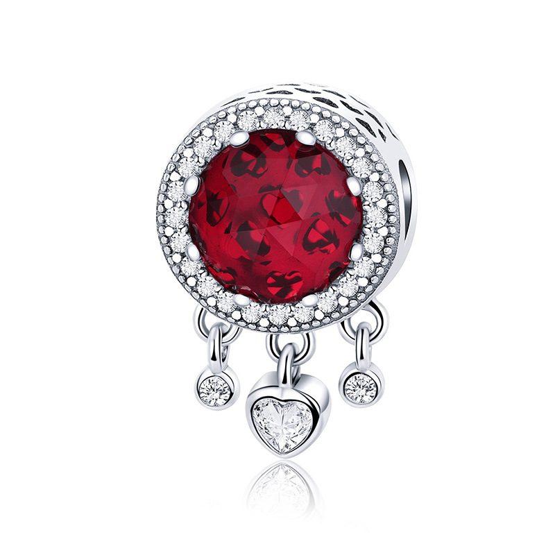 Bộ sưu tập hạt charm bạc mạ bạch kim xỏ DIY dát đá Zircon hình trái tim LILI_636925-06