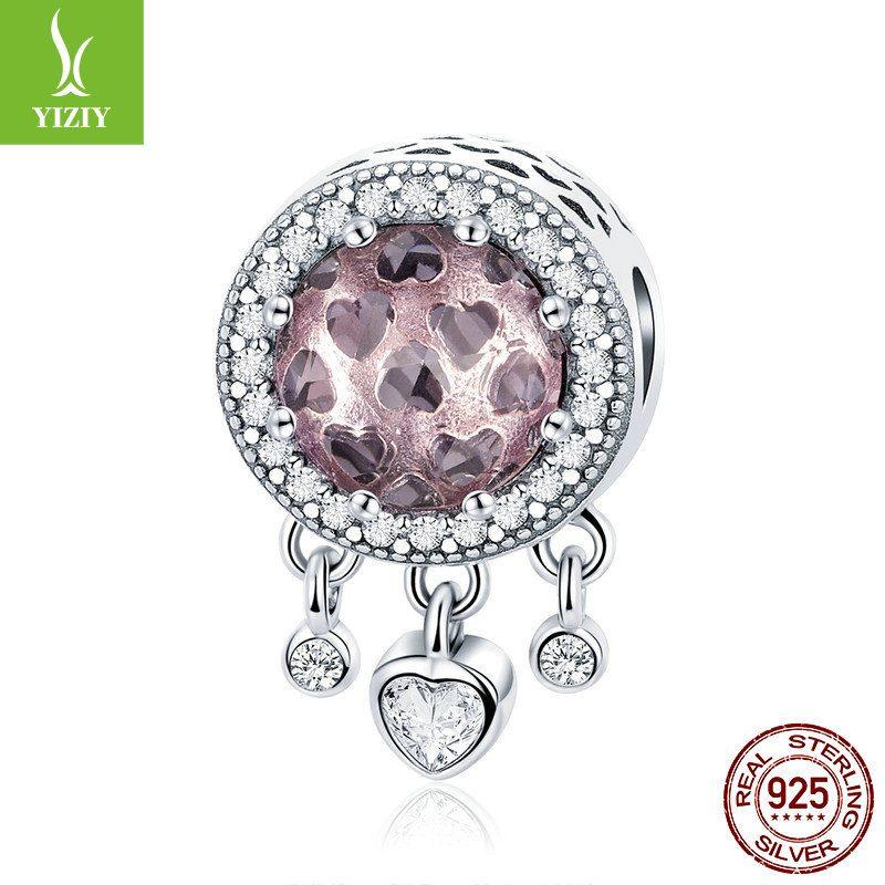 Bộ sưu tập hạt charm bạc mạ bạch kim xỏ DIY dát đá Zircon hình trái tim LILI_636925-07