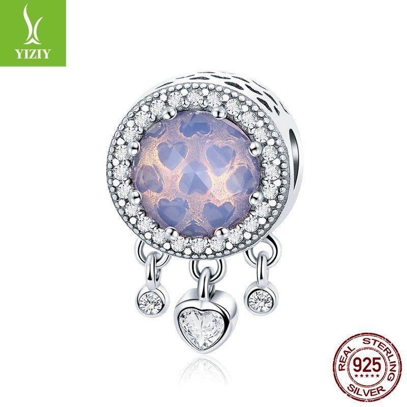 Bộ sưu tập hạt charm bạc mạ bạch kim xỏ DIY dát đá Zircon hình trái tim LILI_636925-08