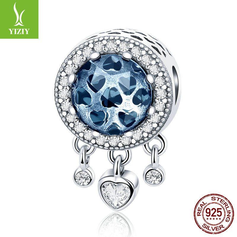 Bộ sưu tập hạt charm bạc mạ bạch kim xỏ DIY dát đá Zircon hình trái tim LILI_636925-09