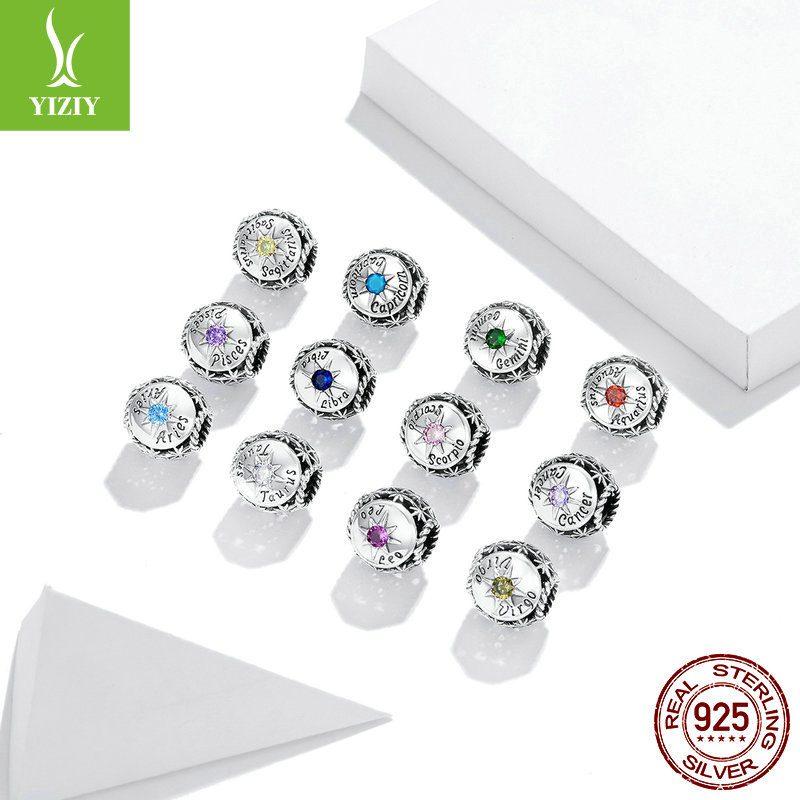 Bộ sưu tập hạt charm bạc mạ bạch kim xỏ DIY hình 12 cung hoàng đạo LILI_673469-02