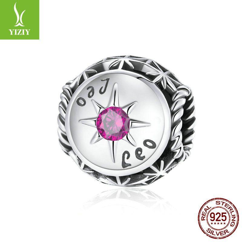 Bộ sưu tập hạt charm bạc mạ bạch kim xỏ DIY hình 12 cung hoàng đạo LILI_673469-04