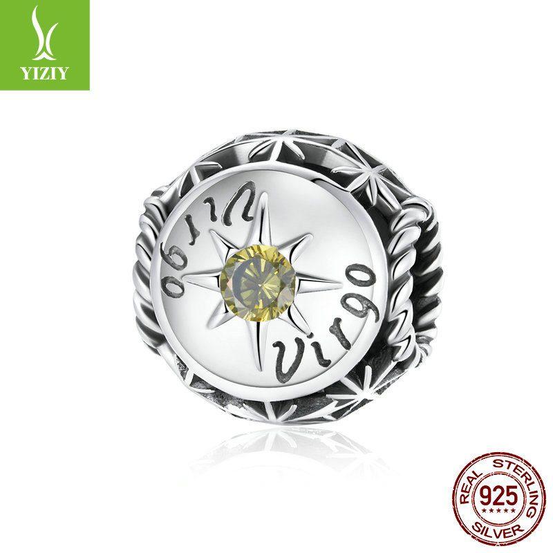 Bộ sưu tập hạt charm bạc mạ bạch kim xỏ DIY hình 12 cung hoàng đạo LILI_673469-05