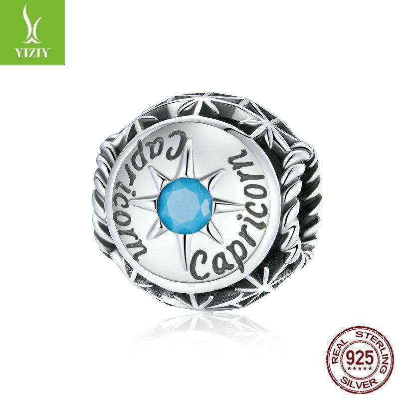 Bộ sưu tập hạt charm bạc mạ bạch kim xỏ DIY hình 12 cung hoàng đạo LILI_673469-06