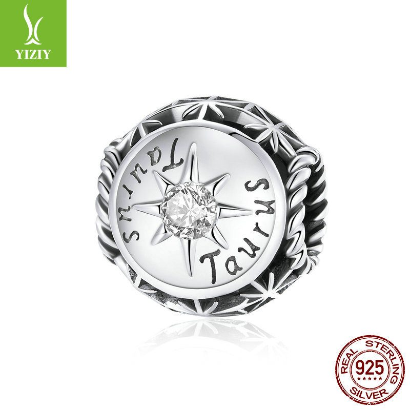 Bộ sưu tập hạt charm bạc mạ bạch kim xỏ DIY hình 12 cung hoàng đạo LILI_673469-07