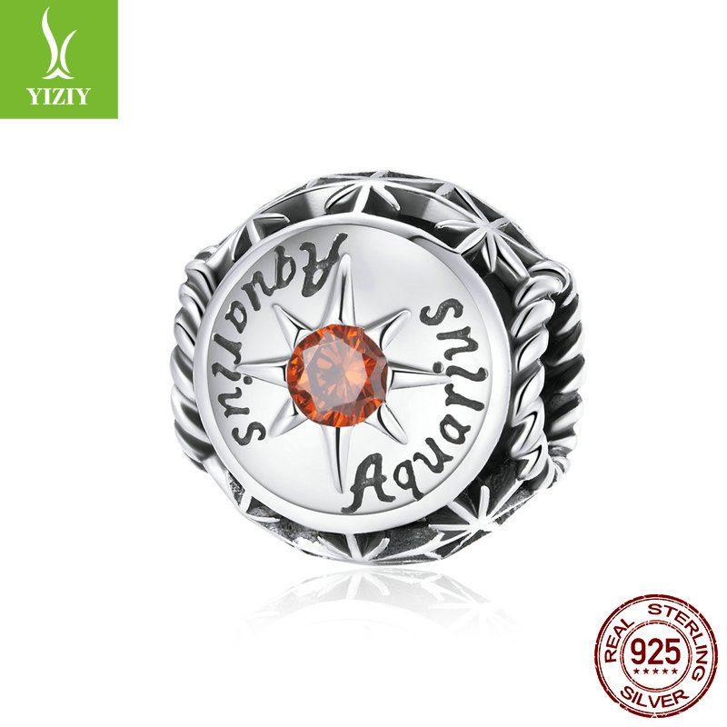 Bộ sưu tập hạt charm bạc mạ bạch kim xỏ DIY hình 12 cung hoàng đạo LILI_673469-08