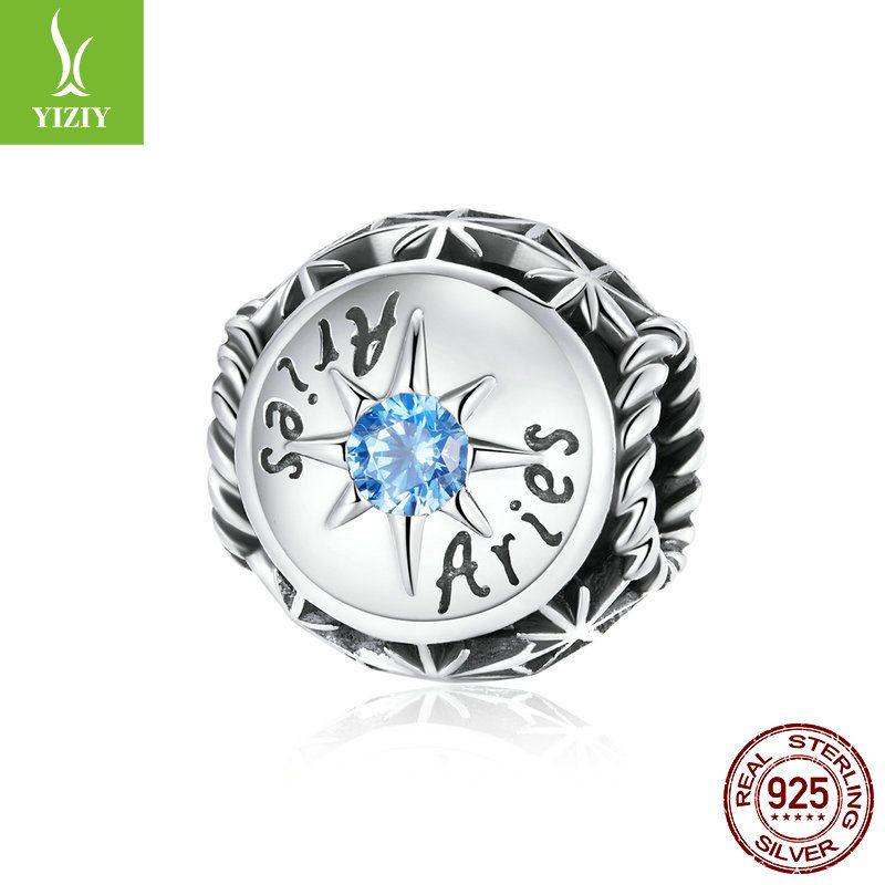Bộ sưu tập hạt charm bạc mạ bạch kim xỏ DIY hình 12 cung hoàng đạo LILI_673469-10
