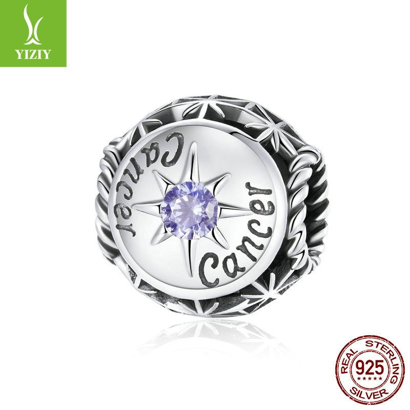 Bộ sưu tập hạt charm bạc mạ bạch kim xỏ DIY hình 12 cung hoàng đạo LILI_673469-11