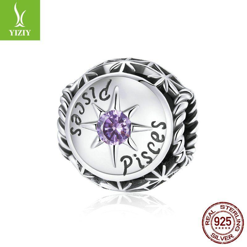 Bộ sưu tập hạt charm bạc mạ bạch kim xỏ DIY hình 12 cung hoàng đạo LILI_673469-12
