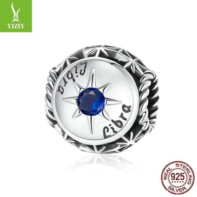 Bộ sưu tập hạt charm bạc mạ bạch kim xỏ DIY hình 12 cung hoàng đạo LILI_673469-14
