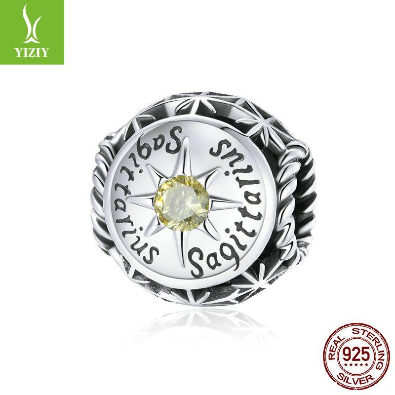Bộ sưu tập hạt charm bạc mạ bạch kim xỏ DIY hình 12 cung hoàng đạo LILI_673469-15