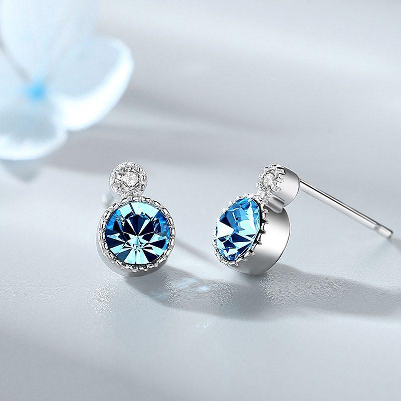Bông tai bạc đính đá Swarovski Trái tim của biển LILI_141382-01