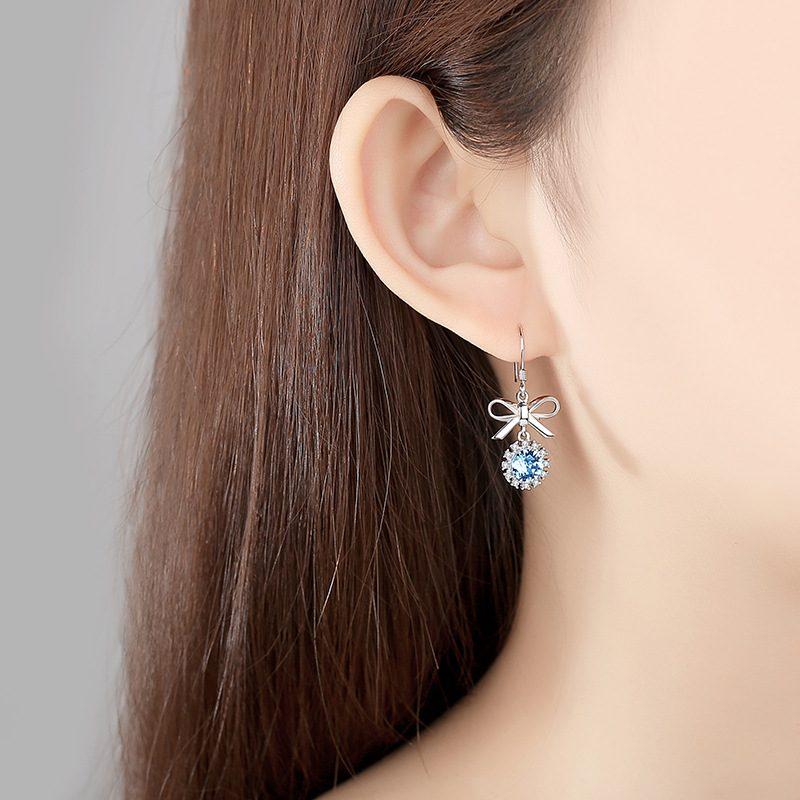 Bông tai bạc đính đá Swarovski hình cái nơ LILI_661186-05