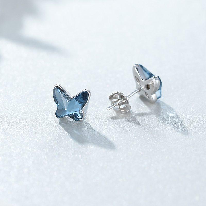 Bông tai bạc đính đá Swarovski hình cánh bướm LILI_911793-02