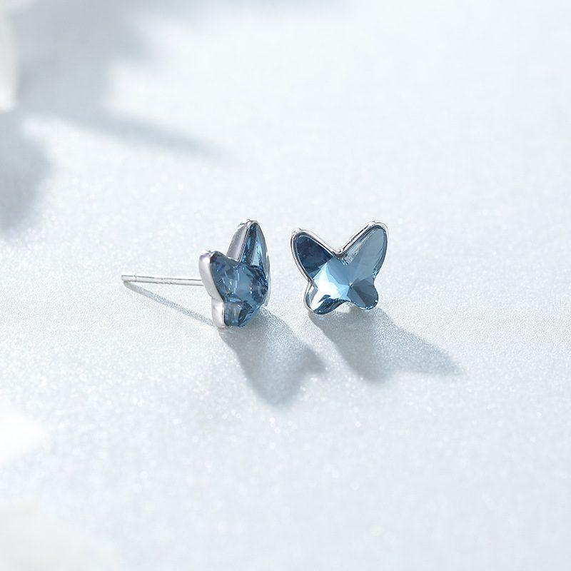 Bông tai bạc đính đá Swarovski hình cánh bướm LILI_911793-04