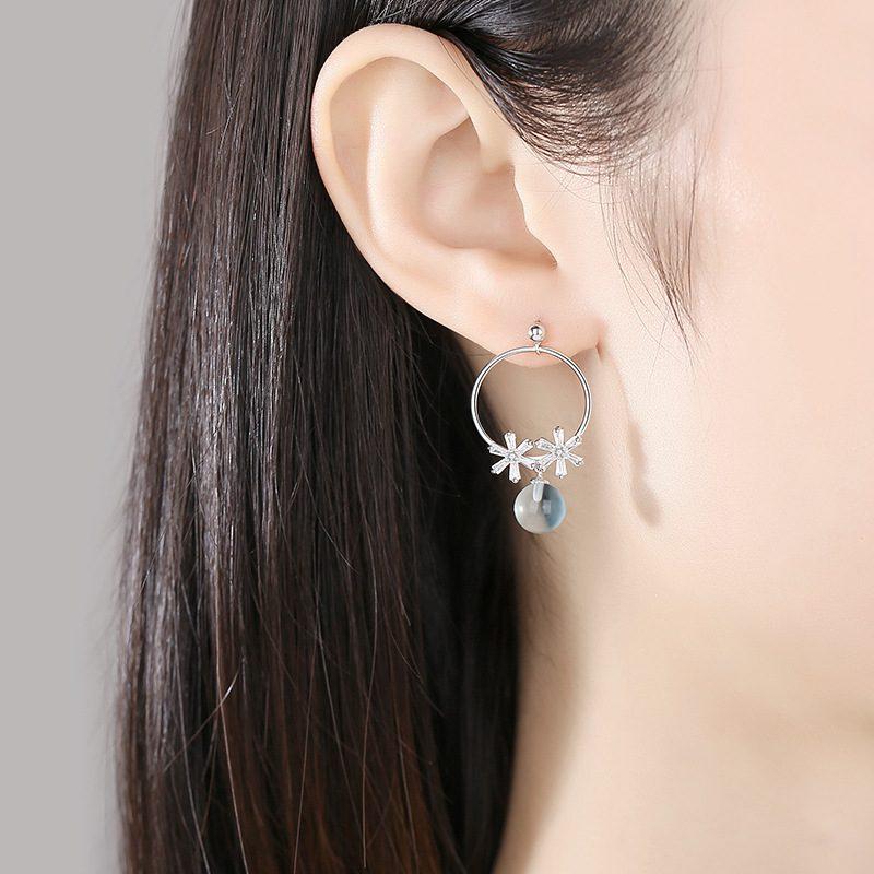 Bông tai bạc đính đá Swarovski hình cánh hoa LILI_993846-05