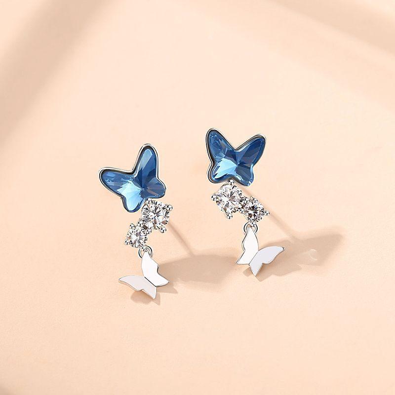 Bông tai bạc đính đá Swarovski hình đôi bướm LILI_176393-02