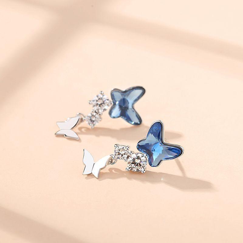 Bông tai bạc đính đá Swarovski hình đôi bướm LILI_176393-04