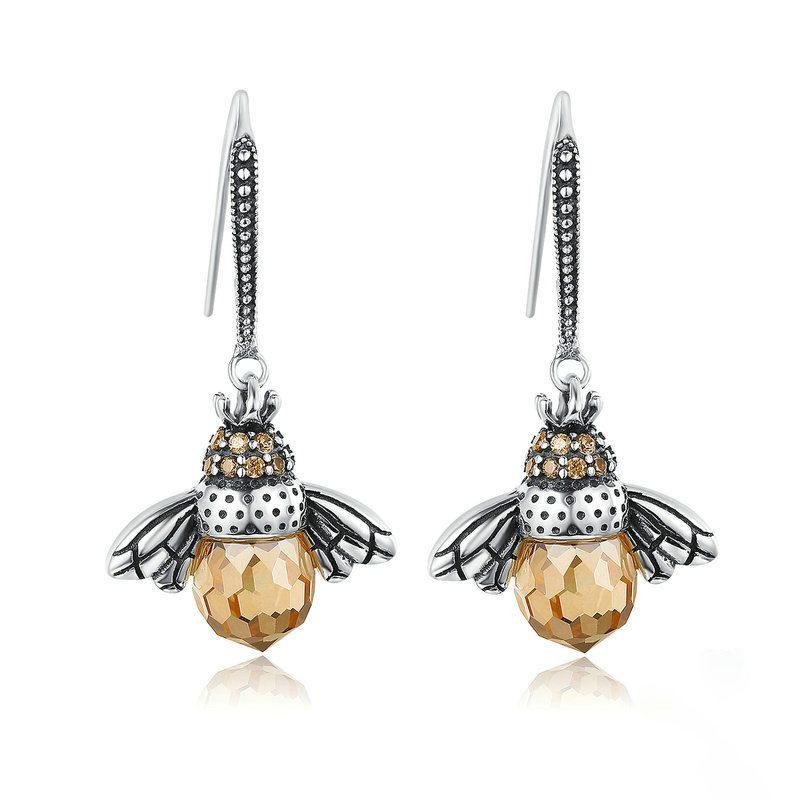 Bông tai bạc đính đá Zircon hình con ong cái LILI_244674-01
