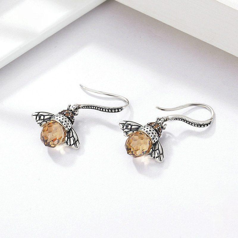 Bông tai bạc đính đá Zircon hình con ong cái LILI_244674-02