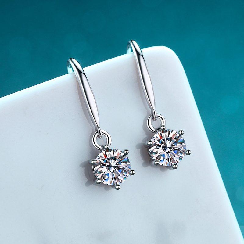 Bông tai bạc đính kim cương Moissanite 2 carat LILI_142123-01