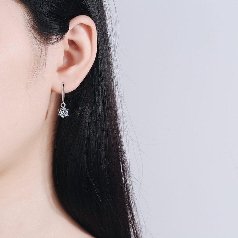 Bông tai bạc đính kim cương Moissanite 2 carat LILI_142123-02