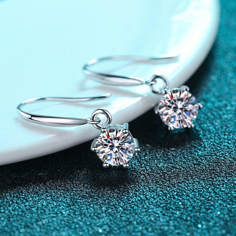 Bông tai bạc đính kim cương Moissanite 2 carat LILI_142123-03