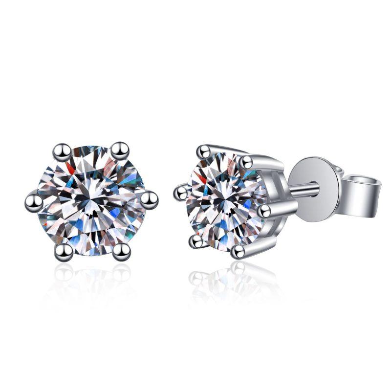 Bông tai bạc đính kim cương Moissanite 2 carat LILI_192668-01