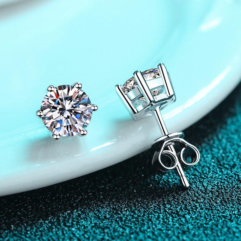 Bông tai bạc đính kim cương Moissanite 2 carat LILI_192668-02