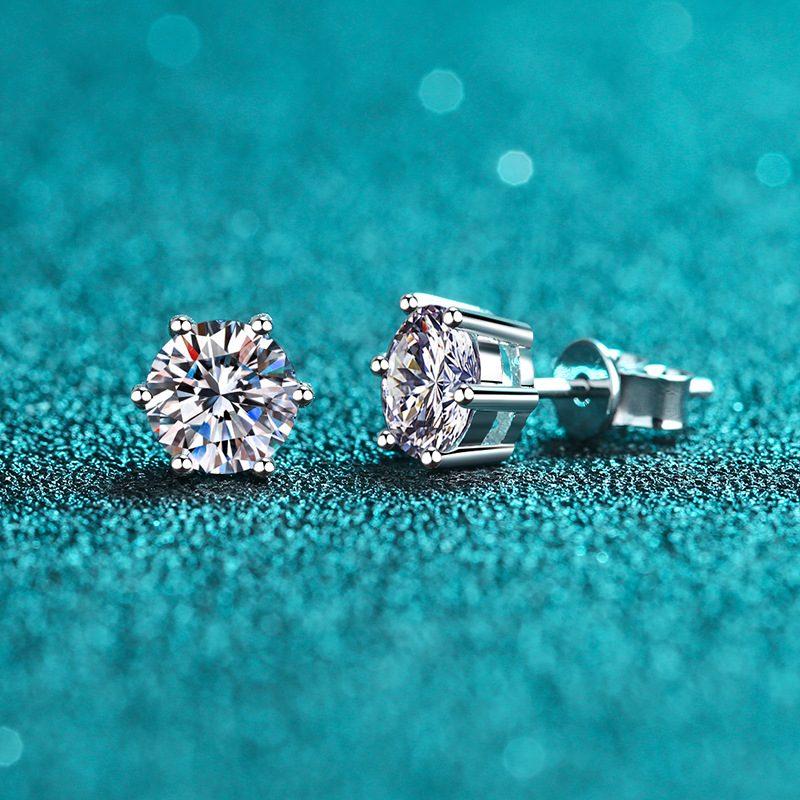 Bông tai bạc đính kim cương Moissanite 2 carat LILI_192668-03