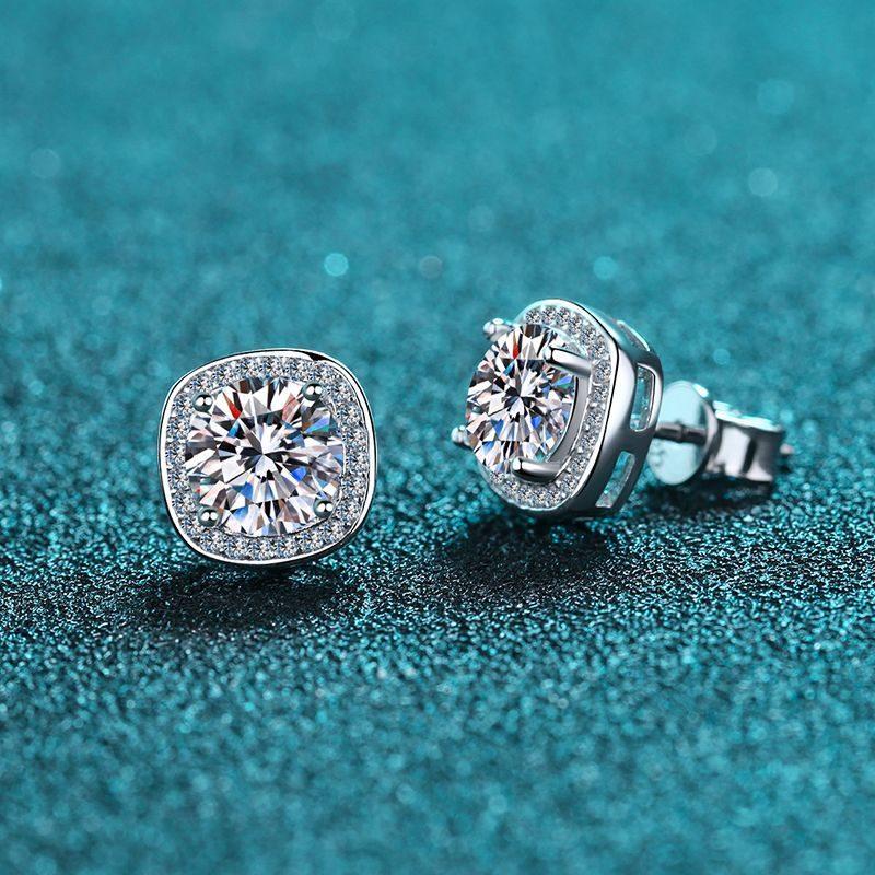 Bông tai bạc đính kim cương Moissanite 2 carat LILI_216225-01