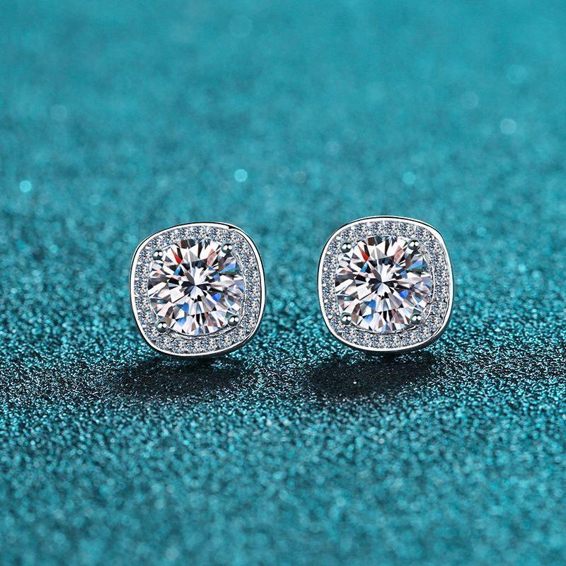 Bông tai bạc đính kim cương Moissanite 2 carat LILI_216225-02